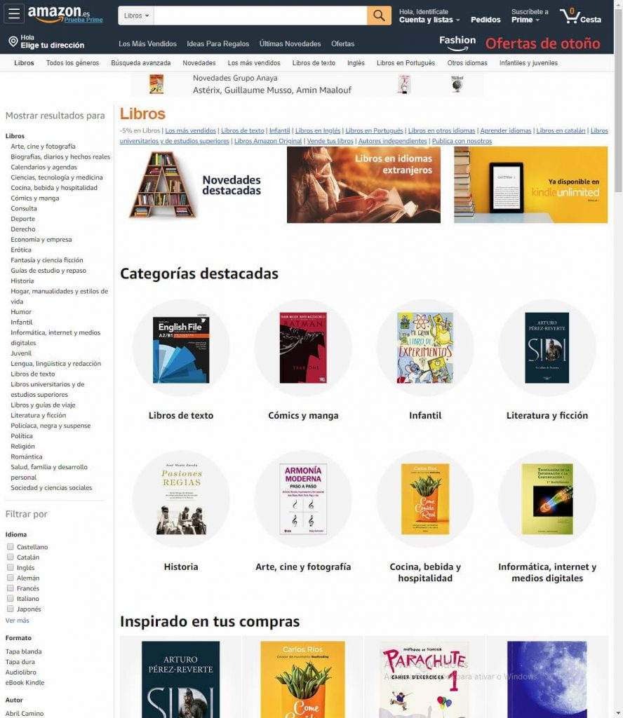 Página da categoria livros do site da Amazon.